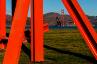 Mark di Suvero sculpture and the Golden Gate Bridge
